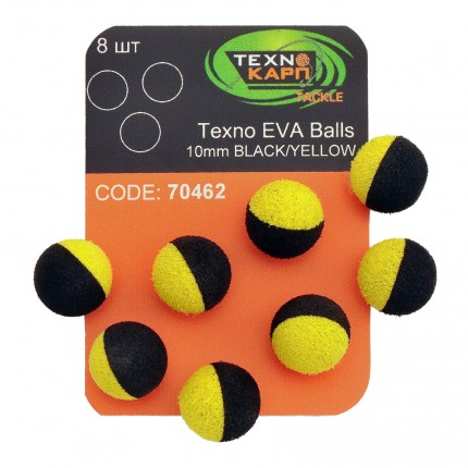 Texno EVA Balls 10mm black/yellow уп/8шт